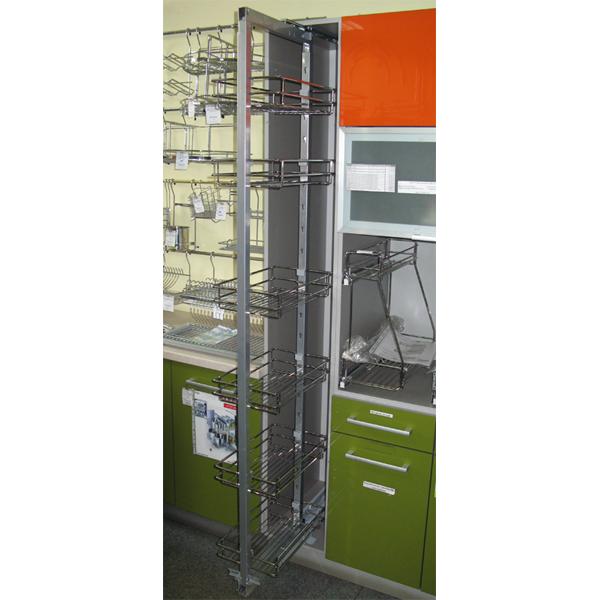 Выдвижной кухонный пенал с 6 сетчатыми полками